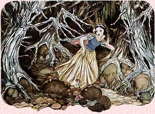 snowhite in the woods